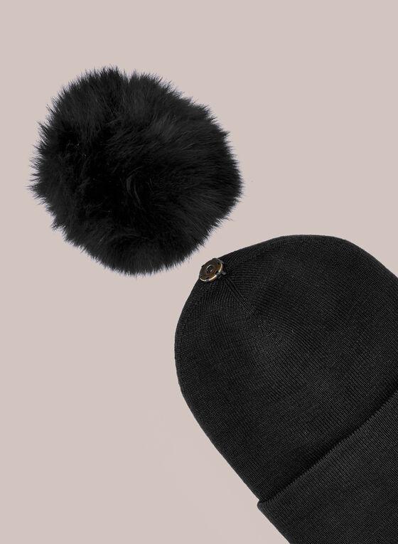 Large Pompom Ribbed Hat, Black