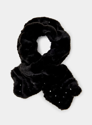 Pearl Embellished Plush Scarf, Black, hi-res