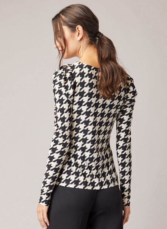 Houndstooth Print Long Sleeve Top, Black