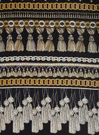 Silk Ornate Tassel Scarf, Black