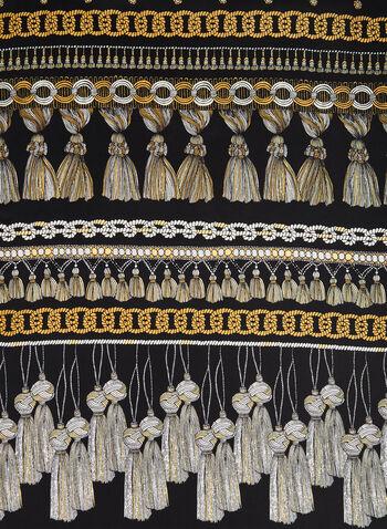Silk Ornate Tassel Scarf, Black,  canada, scarf, silk, silk scarf, tassel print, printed scarf, long scarf, holiday, fall 2019, winter 2019