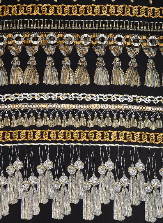 Foulard à motif pampilles et chaînes, Noir