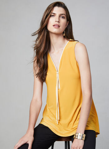 Sleeveless Zipper Detail Top, Gold, hi-res,  v-neck, tassel, jersey, crossover detail, zipper, fall 2019, winter 2019