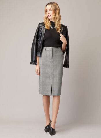 Prince of Wales Print Skirt, Black,  skirt, pencil, belt loops, zipper, prince of wales, stretchy, fall winter 2020