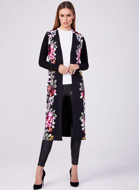 Frank Lyman - Floral Print ¾ Sleeve Duster, Black, hi-res