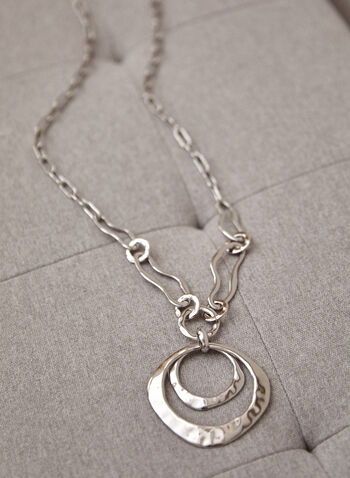 Long Double Pendant Necklace, Silver,  spring summer 2021, accessory, accessories, jewelry, jewellery, chain, long, necklace, oval links, metal, silver, texture, pendant,
