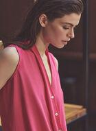 Joseph Ribkoff - Sleeveless Faux Wrap Blouse, Pink
