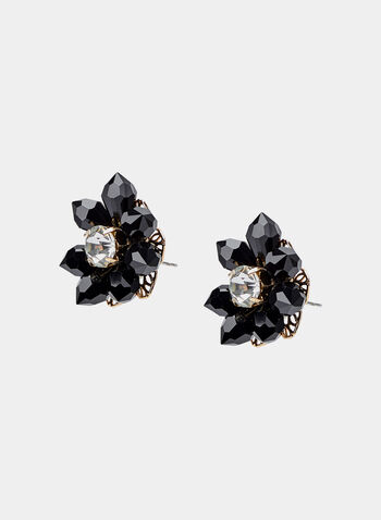 Faceted Stone Flower Earrings, Black, hi-res