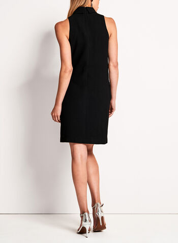 Collared Crepe Shift Dress, Black, hi-res