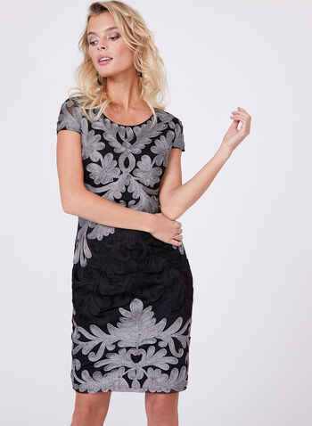 Frank Lyman - Embroidered Mesh Dress, Black, hi-res