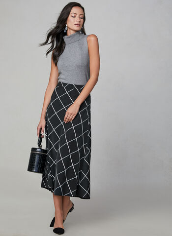 Window Pane Print Skirt, Black, hi-res,  midi, flared, squares, grid, fall 2019, winter 2019