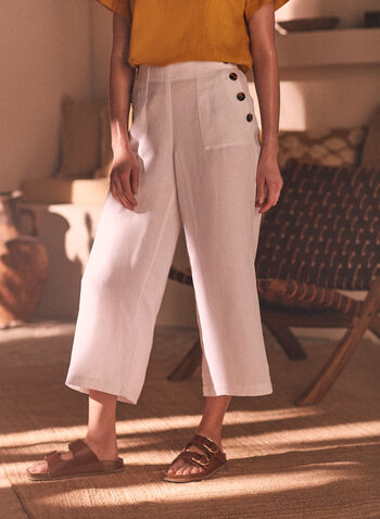 Linen Pull On Gaucho Pants, White,  spring summer 2021, linen, linen blend, gaucho, wide leg, culotte, culottes, pull on, pull-on, pockets, button detail, wide leg, capris, cropped pants, elastic waist, light, comfort