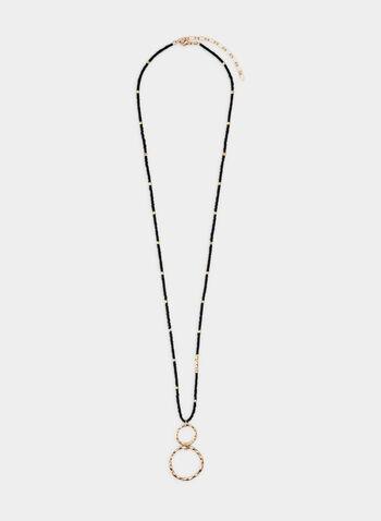 Hoop Pendant Necklace, Black, hi-res,  hammered metal, hoops, rings, beads, adjustable, fall 2019, winter 2019