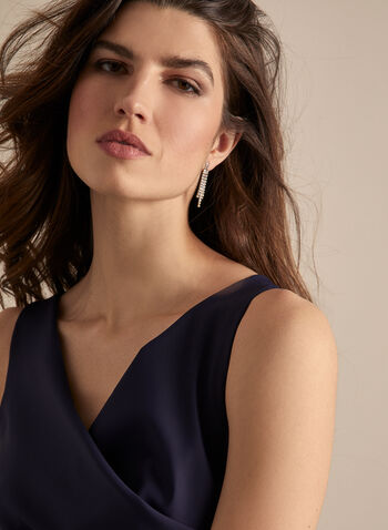 Alex Evenings - Sleeveless Faux Wrap Cocktail Dress, Blue,  dress, evening, occasion, cocktail, faux wrap, rhinestones, spring summer 2020
