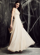 BA Nites - Embroidered Chiffon Gown, Off White, hi-res