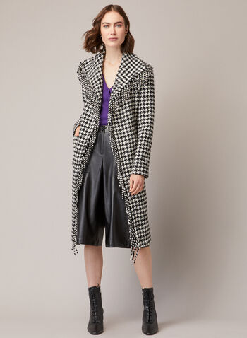 Houndstooth Print Fringe Coat, Black,  houndstooth, fringe, coat, long sleeves, belt, pockets, fall winter 2020