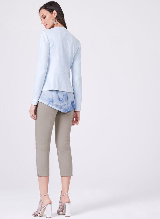 Vex - Open Front Faux Suede Jacket , Blue