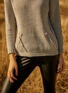 Chenille Turtleneck Sweater, Grey