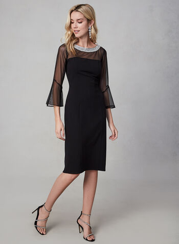 Alex Evenings - Bell Sleeve Crepe Dress, Black, hi-res,  fall winter 2019, holiday, evening dress, cocktail, bell sleeves, mesh, crepe