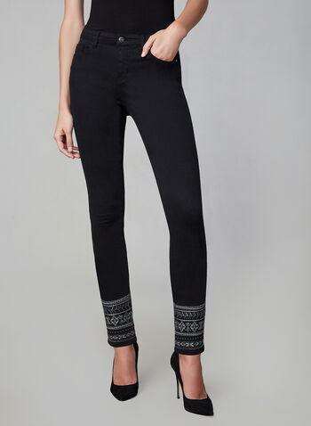 Jeans à jambe étroite et ourlet brodé, Noir, hi-res,  jeans, jambe étroite, poches, longueur cheville, broderies, coton, automne hiver 2019