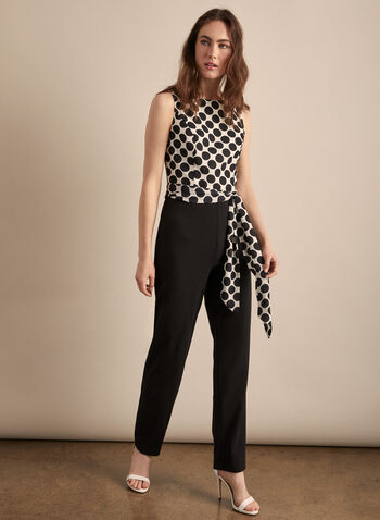 Frank Lyman - Polka Dot Bodice Jumpsuit , Black,  jumpsuit, sleeveless, polka dot, straight leg, ribbon belt, spring summer 2020