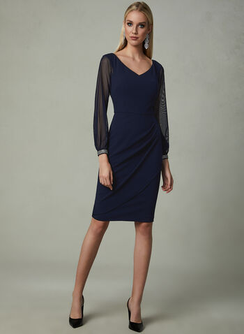 BA Nites - Mesh Sleeve Dress, Blue, hi-res