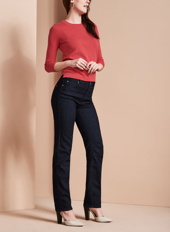 Simon Chang - Embroidered Straight Leg Jeans, Blue, hi-res