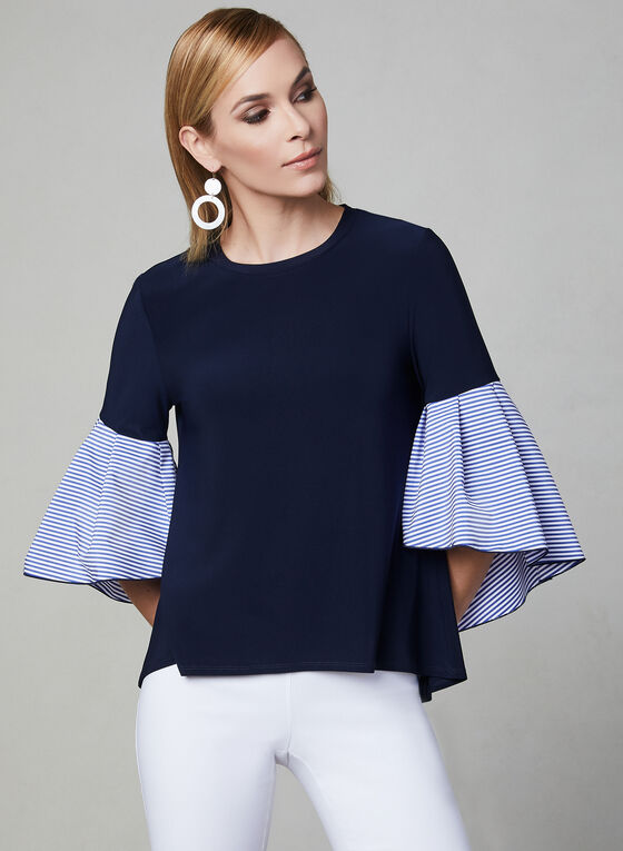 Joseph Ribkoff - Bell Sleeve Top, Blue, hi-res