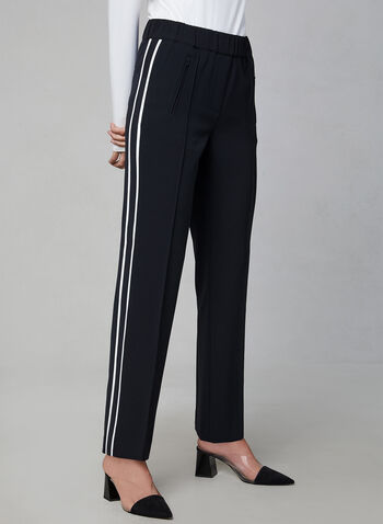 Contrast Trim Straight Leg Pants, Black,  fall 2019, winter 2019, zippers, athletic, side trim, side bands, straight leg, pull-on