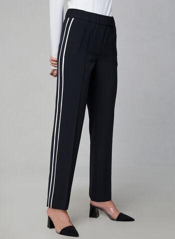 Pantalon pull-on à bandes contrastantes, Noir, hi-res,  pantalon, jambe droite, pull-on, bande contrastante, automne hiver 2019