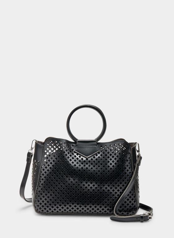 Ring Handle Handbag, Black, hi-res