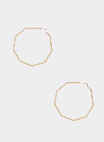 Octagonal Hoop Earrings, Gold,  earrings, octagonal, golden, metallic, hoop, spring summer 2020