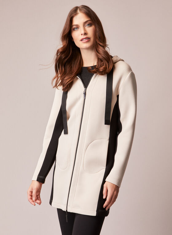 Contrast Detail Hooded Jacket, Off White