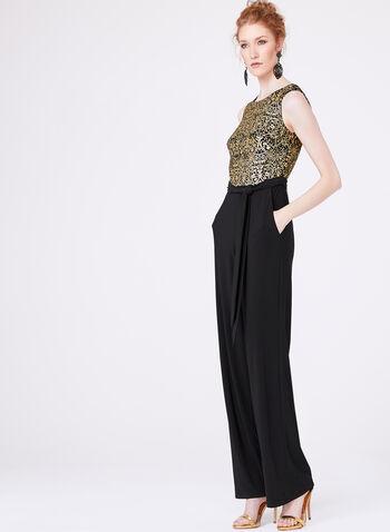 Nicole Miller - Metallic Bodice Jumpsuit , Black, hi-res