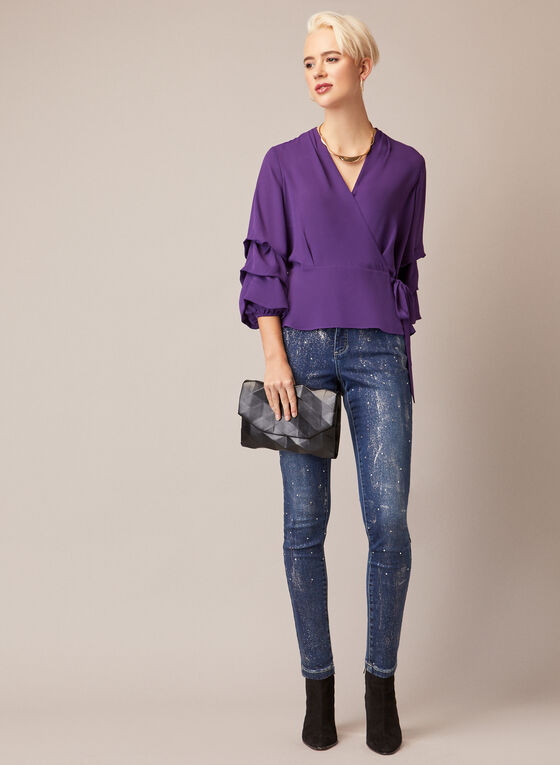 Blouse With Ruffled Sleeves, Purple