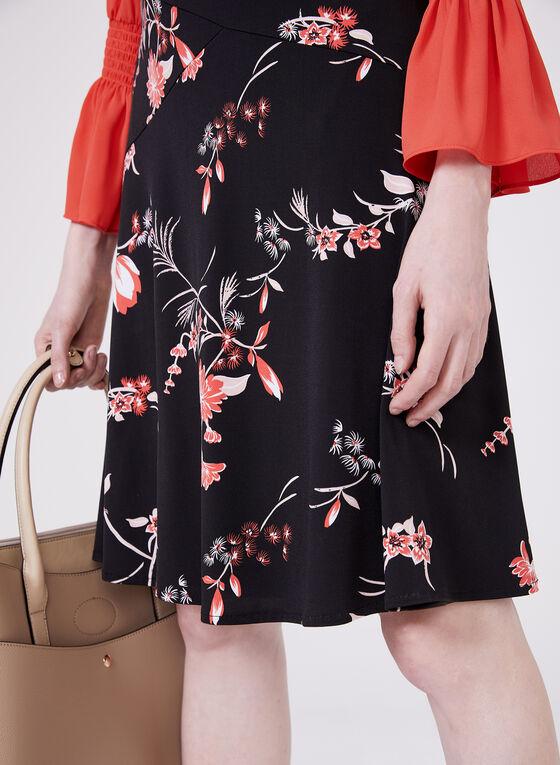 Jupe pull-on trapèze à motif fleuri, Noir, hi-res