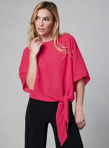 Chiffon Kimono Blouse, Pink, hi-res,  chiffon, fall 2019, kimono sleeves