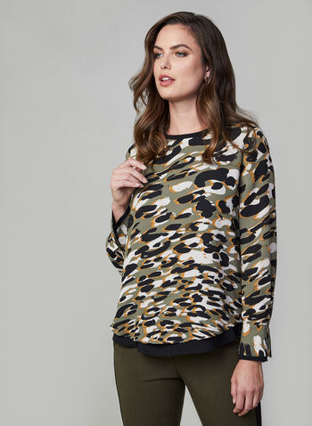 Camouflage Print Top, Green, hi-res,  fall winter 2019, camouflage print, long sleeves, crepe,