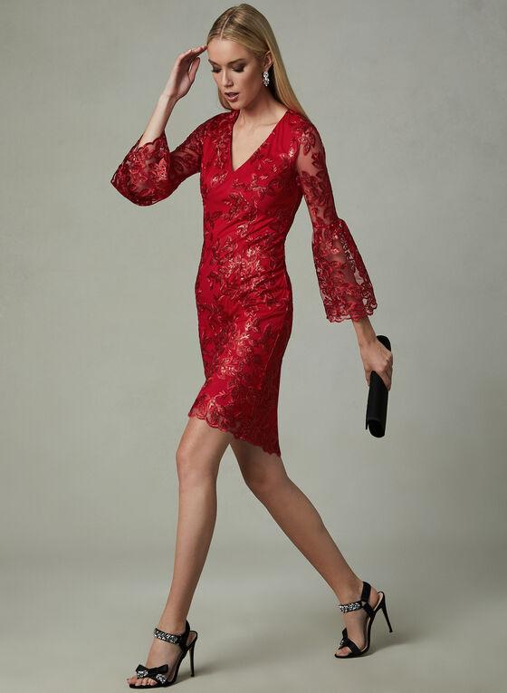 LM Collection - Robe en maille filet et manches cloche, Rouge, hi-res