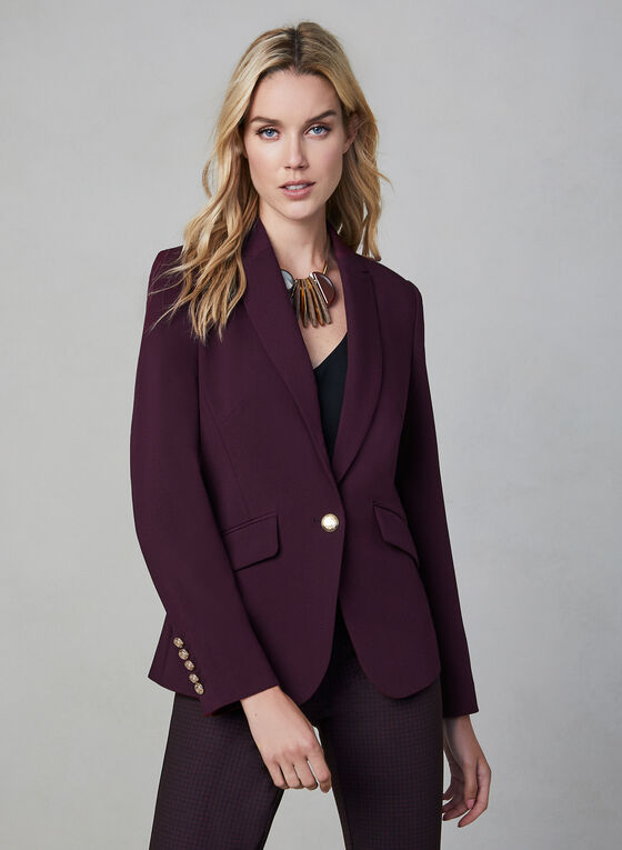 One Button Blazer, Purple, hi-res