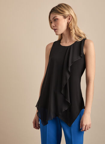 Sleeveless Layered Chiffon Blouse, Black,  blouse, top, sleeveless, layered, wavy, chiffon, jersey, round neck, spring summer 2020