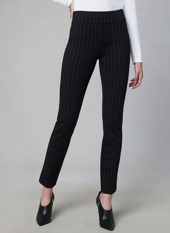 Pinstripe Madison Slim Leg Pants, Black, hi-res