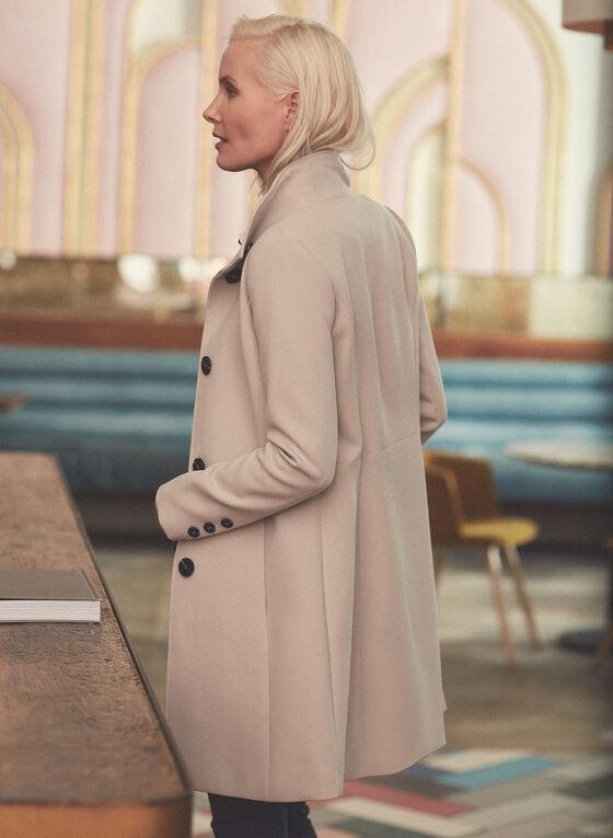 Manteau boutonné à col montant, Blanc cassé
