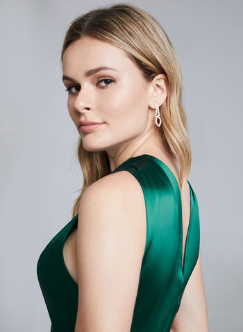 Terani Couture – Sleeveless Satin Gown, Green, hi-res,  evening gown, satin dress, long dress, forest green, dark green satin dress