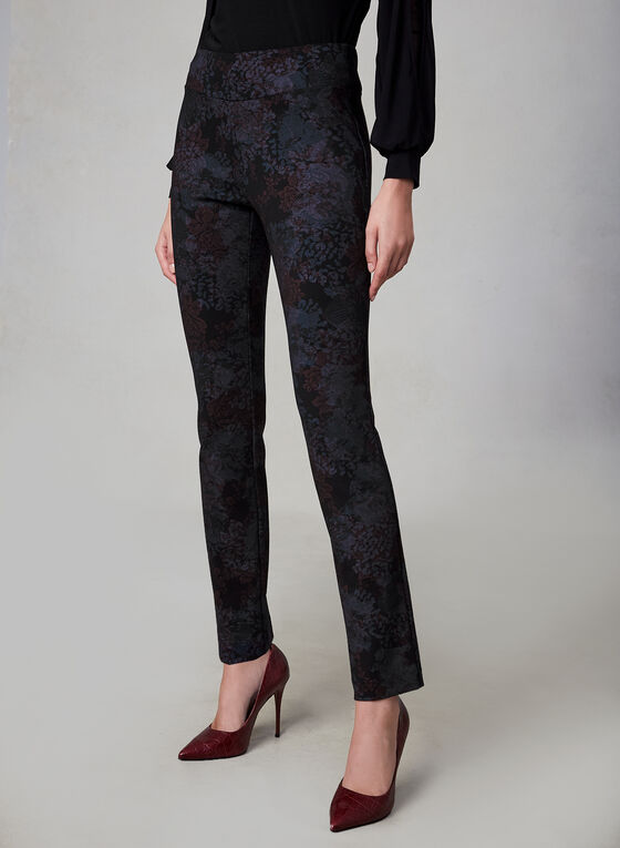 Insight - Floral Print Slim Leg Pants, Black, hi-res