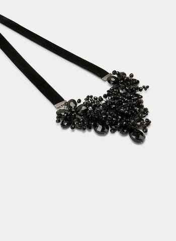 Collier en velours à pierres facettées, Noir, hi-res