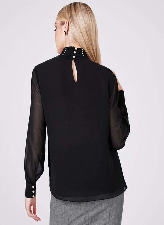 Pearl Detail Chiffon Blouse, Black