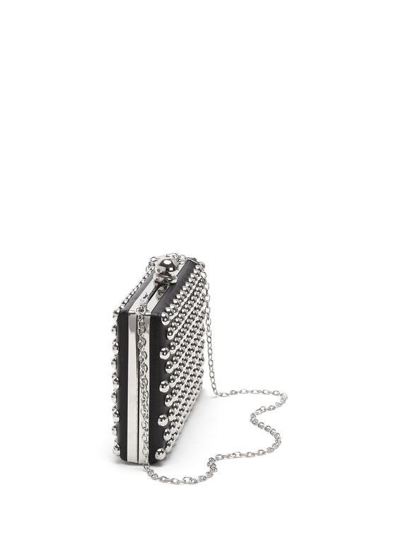 Stone Embellished Box Clutch, Black, hi-res