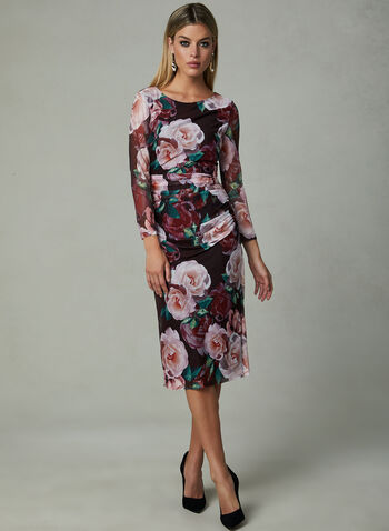 Ignite Evenings - Floral Print Dress, Red, hi-res