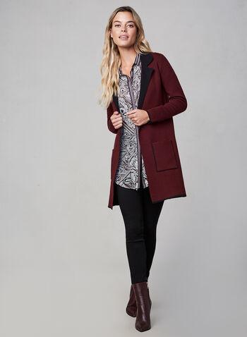 Cardigan long à col cranté, Violet,  manches longues, poches, revers, contraste, contrastant, automne hiver 2019